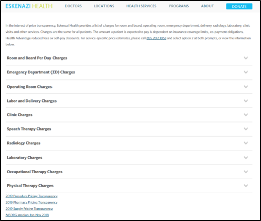 Eskenazi Pricing Page